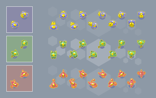 Amoebattle sprites and animation for starter units