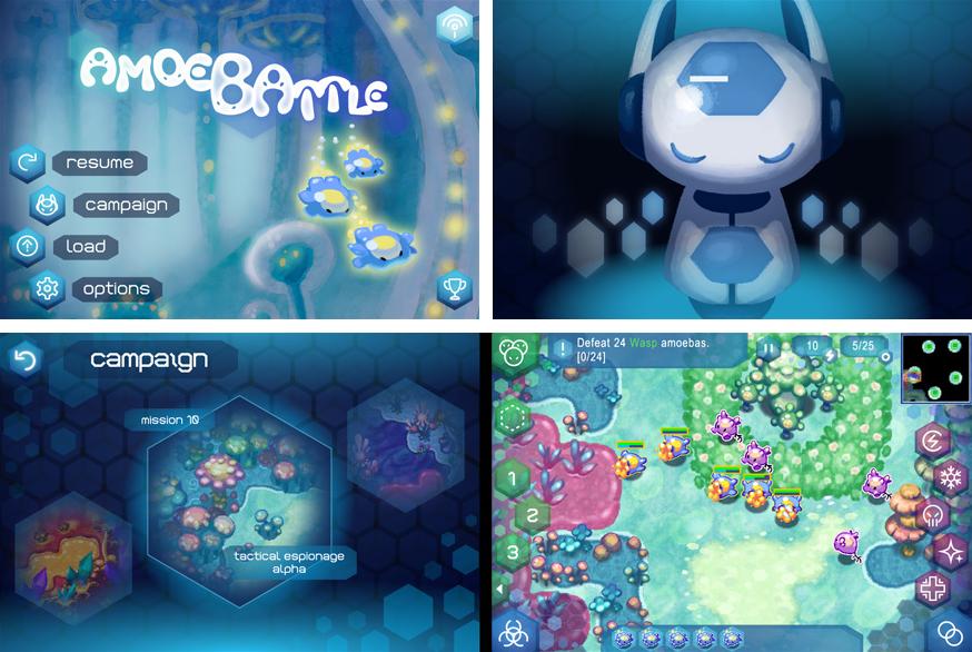 Amoebattle UI, illustrations, background tiles, sprites, and animation