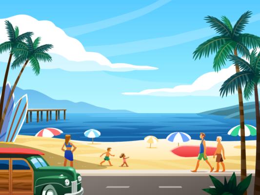 Beach vector background illustration