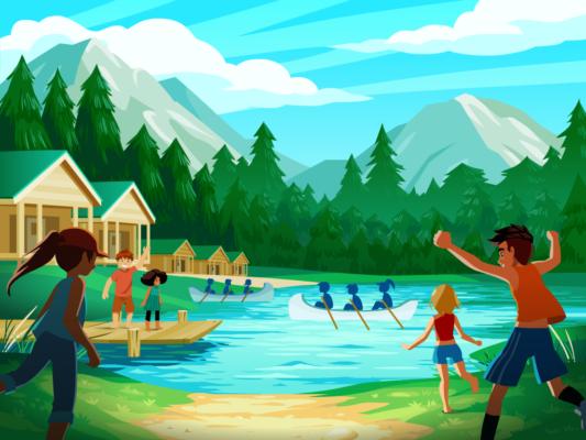 Camp Wannabingo vector background illustration
