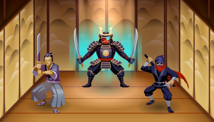 Ninja Minigame characters, animations and BG