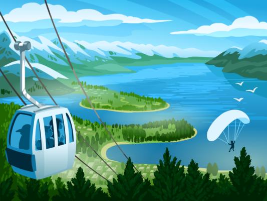 Queenstown vector background illustration