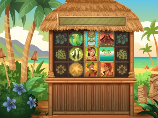Tiki Luau Background and Slot Design and Animation