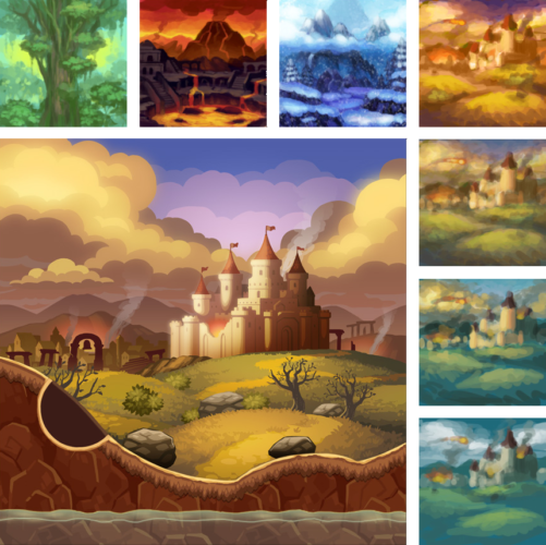 Environment concepts and finished castle background design