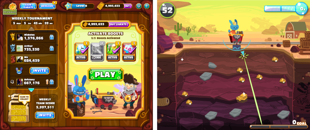 Gold Miner Rush Facebook game UI and background