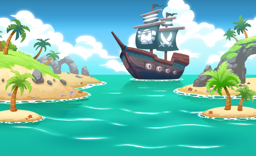 Pirate ship bay background collaboration with Efrain Farias