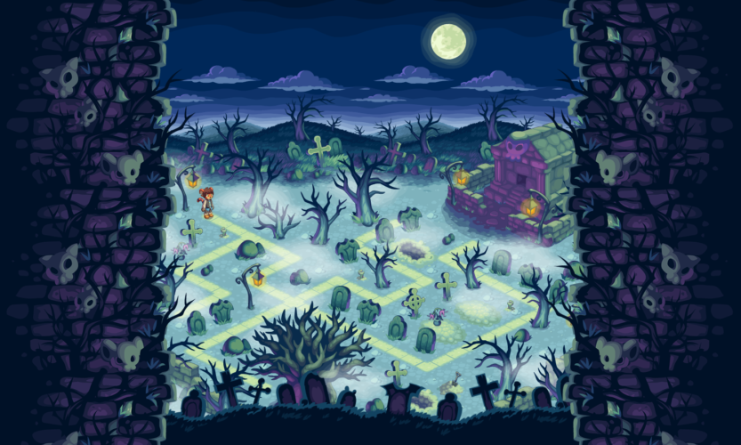 Vector BG, props, and border for graveyard stage